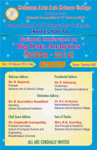 National Level Conference on Big Data Analysis.