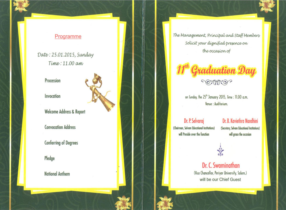 11th Graduation Day will be held on 25.01.2015.